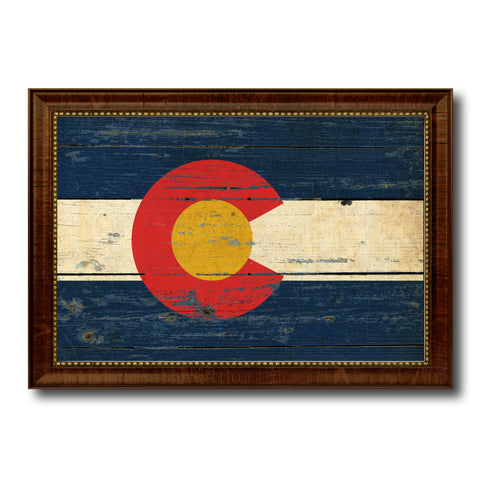 Colorado Vintage History Flag Canvas Print, Picture Frame Gift Ideas Home Décor Wall Art Decoration