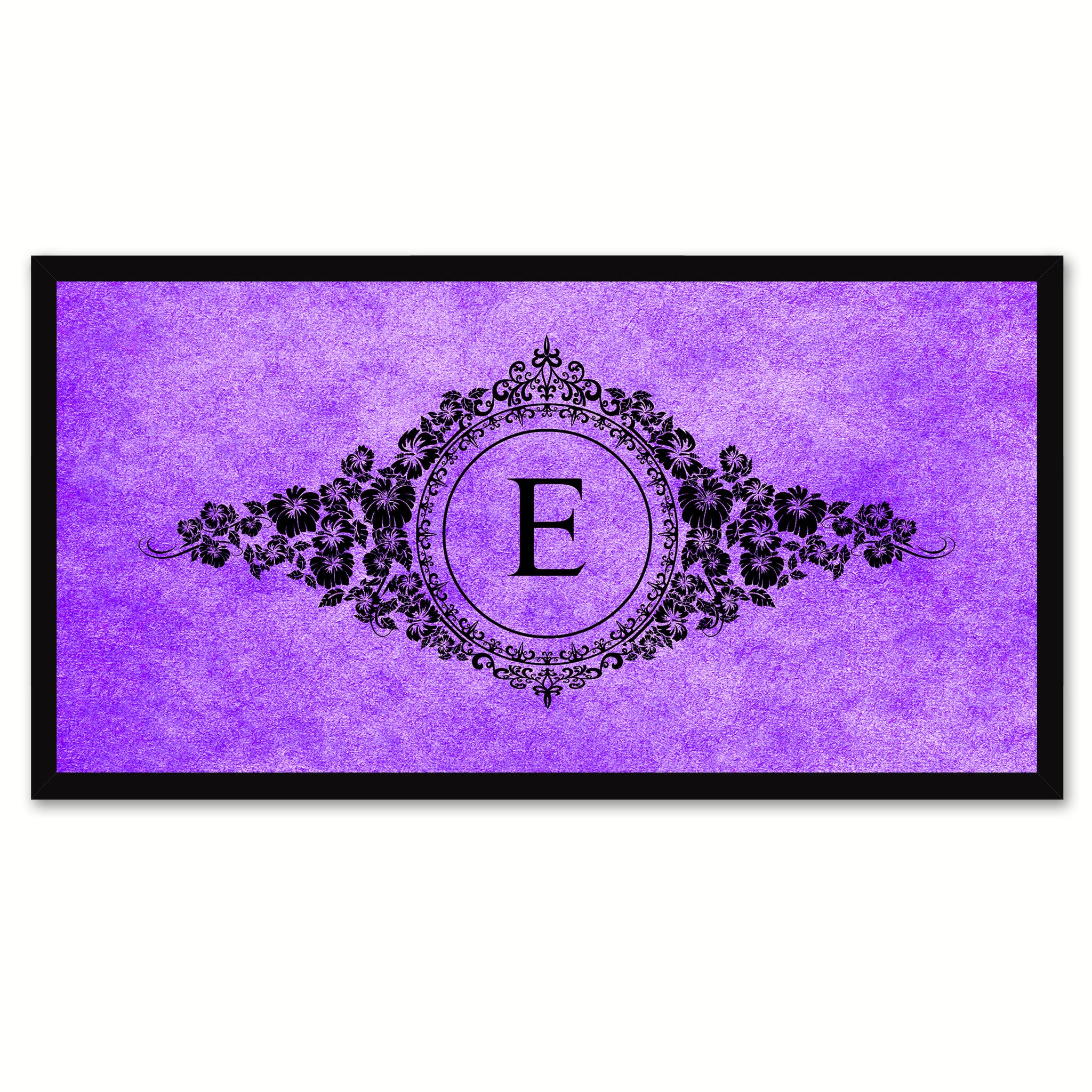 Alphabet Letter E Purple Canvas Print, Black Custom Frame