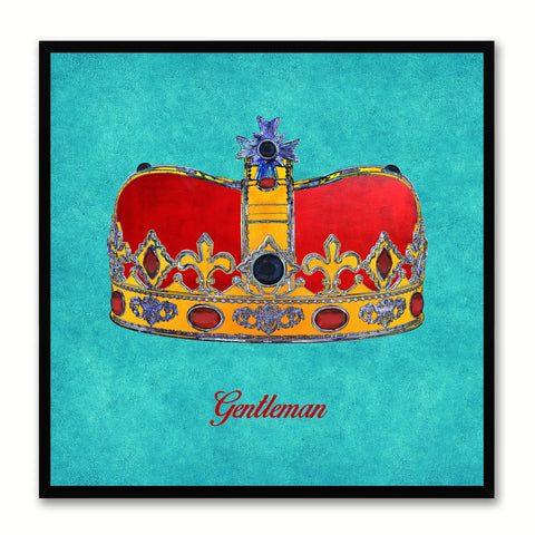 Gentleman Aqua Canvas Print Black Frame Kids Bedroom Wall Home Décor