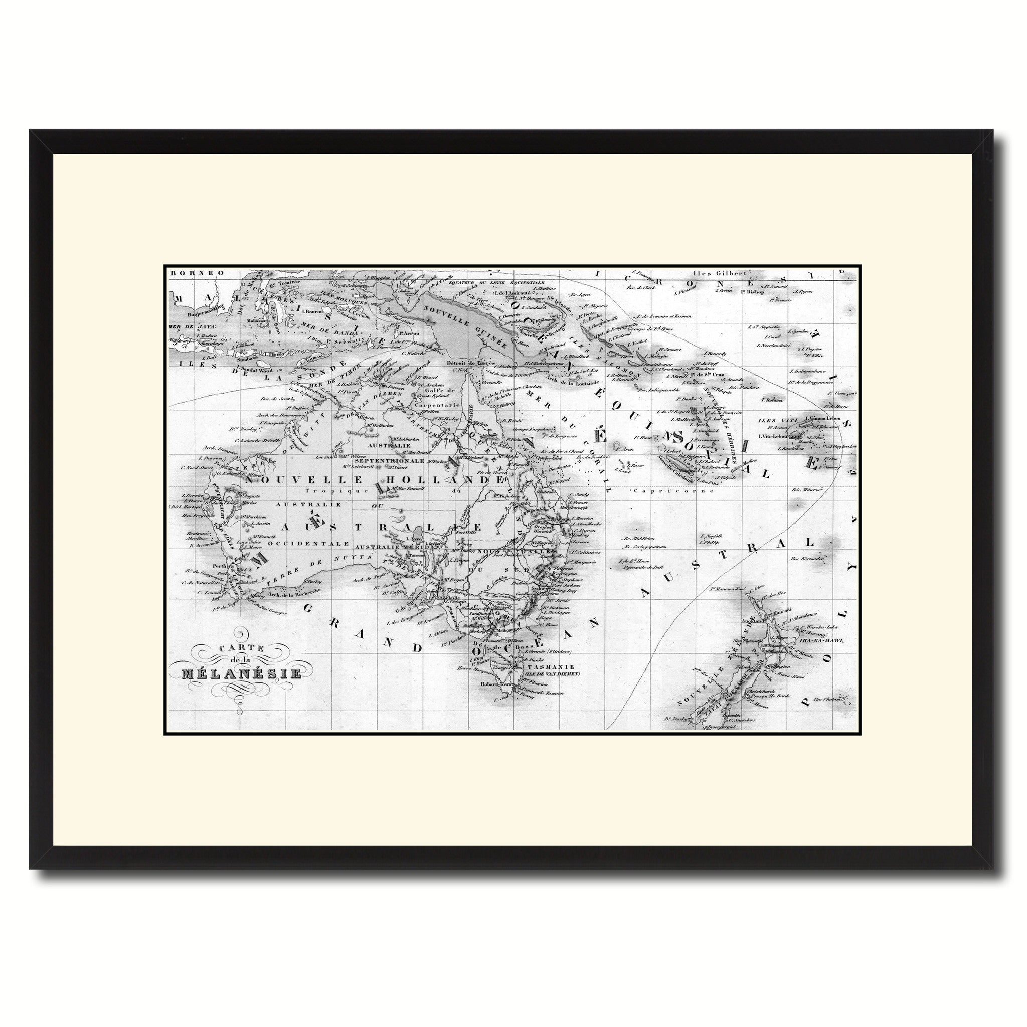 New Zealand Oceania Australia Vintage B&W Map Canvas Print, Picture Frame Home Decor Wall Art Gift Ideas