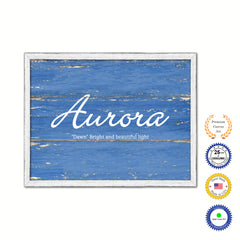 Aurora Name Plate White Wash Wood Frame Canvas Print Boutique Cottage Decor Shabby Chic