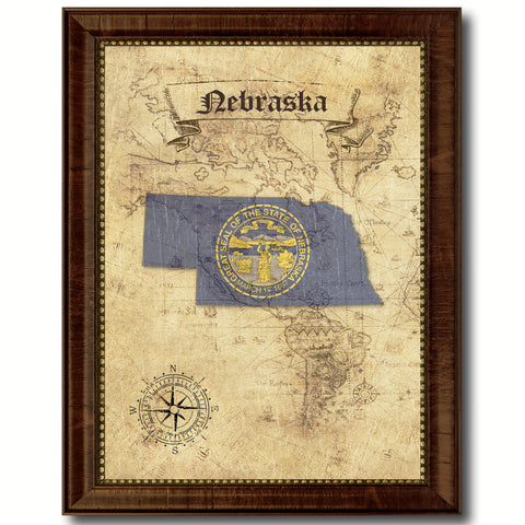 Nebraska State Vintage Map Home Decor Wall Art Office Decoration Gift Ideas