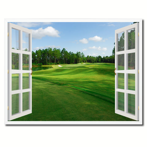 Fleming Island Golf Course Picture French Window Framed Canvas Print Home Decor Wall Art Collection