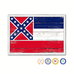 Mississippi State Flag Shabby Chic Gifts Home Decor Wall Art Canvas Print, White Wash Wood Frame