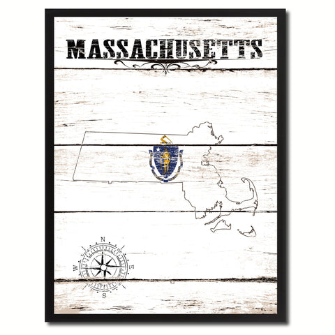 Massachusetts State Flag Texture Canvas Print with Black Picture Frame Home Decor Man Cave Wall Art Collectible Decoration Artwork Gifts