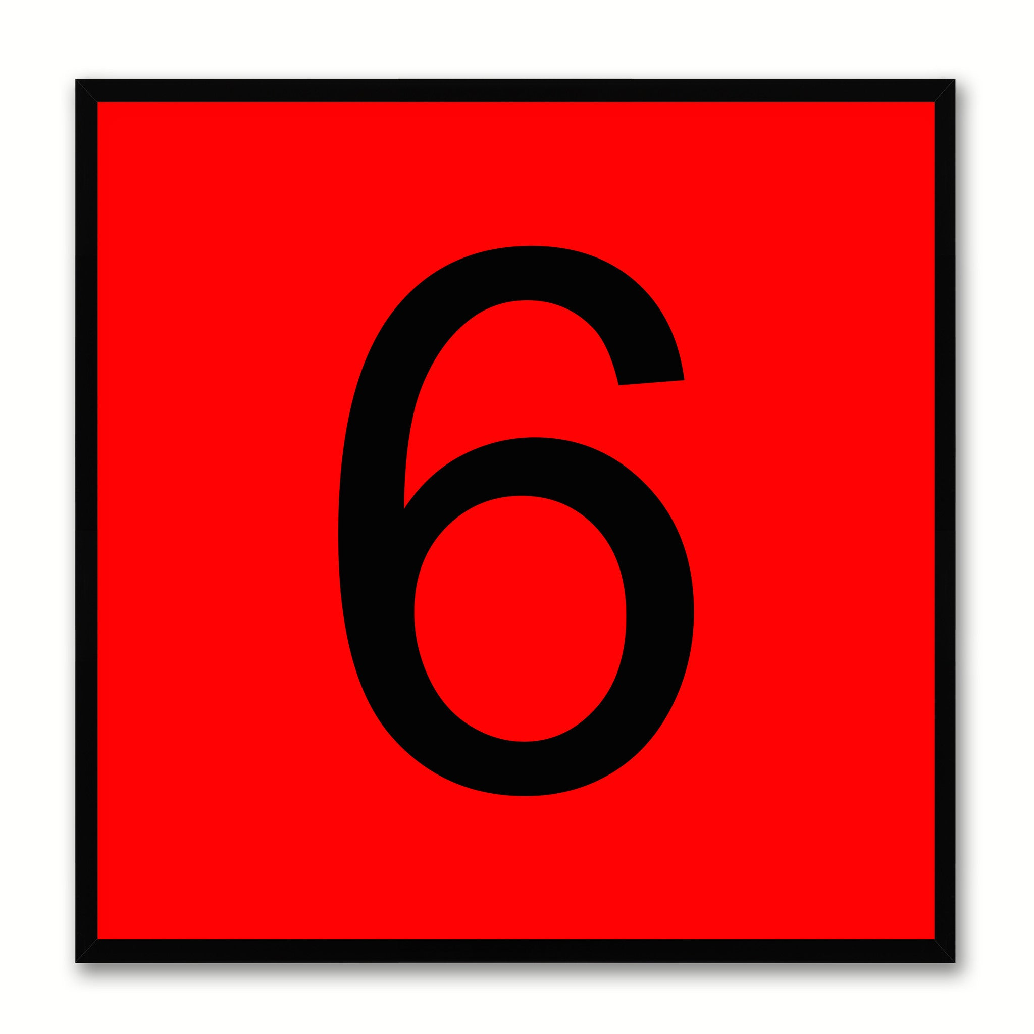 Number 6 Red Canvas Print Black Frame Kids Bedroom Wall Décor Home Art