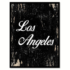 Los Angeles City Vintage Sign Black Framed Canvas Print Home Decor Wall Art Collectible Decoration Artwork Gifts