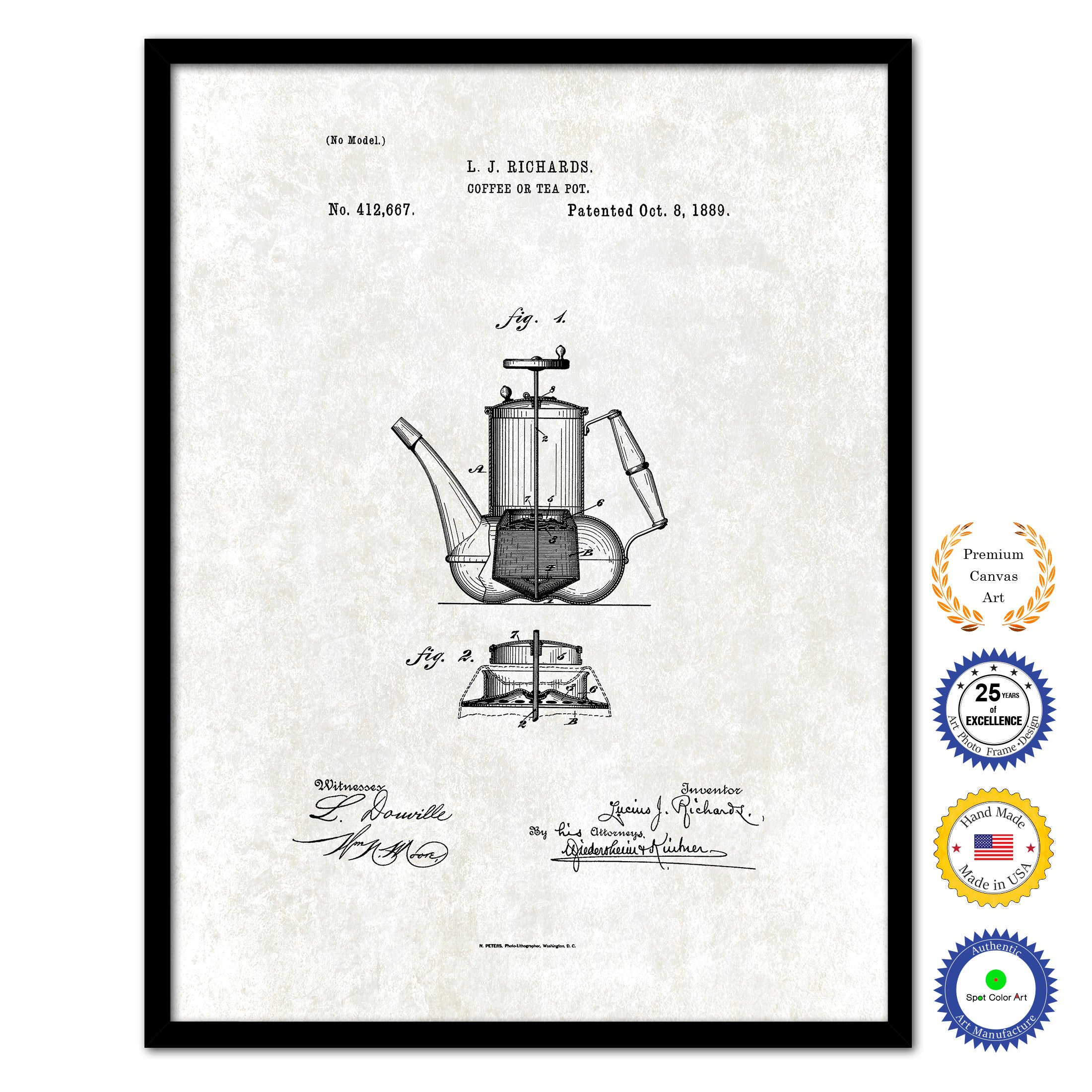 1889 Coffee or Tea Pot Vintage Patent Artwork Black Framed Canvas Print Home Office Decor Great for Coffee Lover Cafe Tea Shop