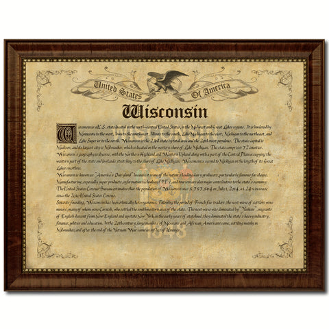 Wisconsin Vintage History Flag Canvas Print, Picture Frame Gift Ideas Home Décor Wall Art Decoration