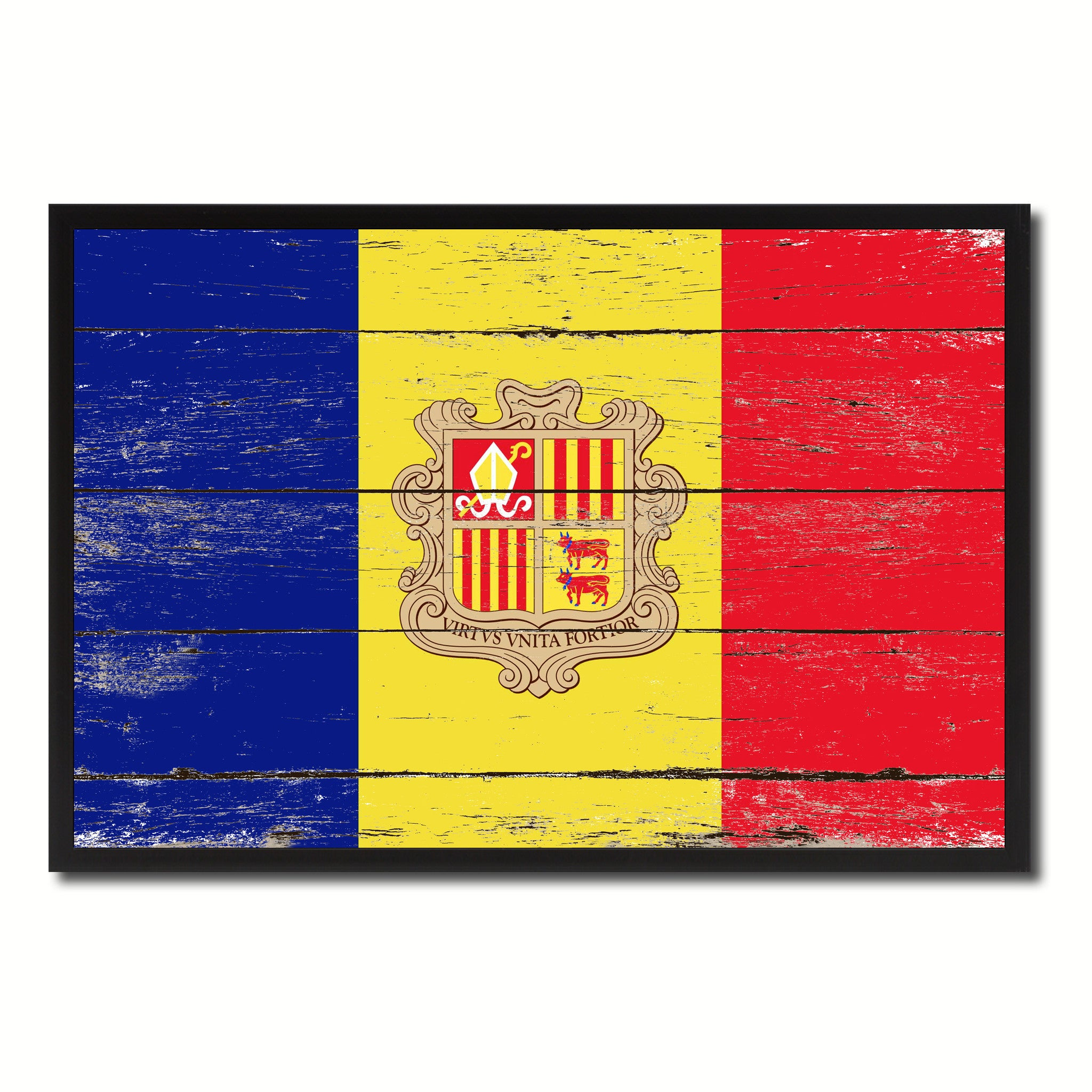 Andorra Country National Flag Vintage Canvas Print with Picture Frame Home Decor Wall Art Collection Gift Ideas