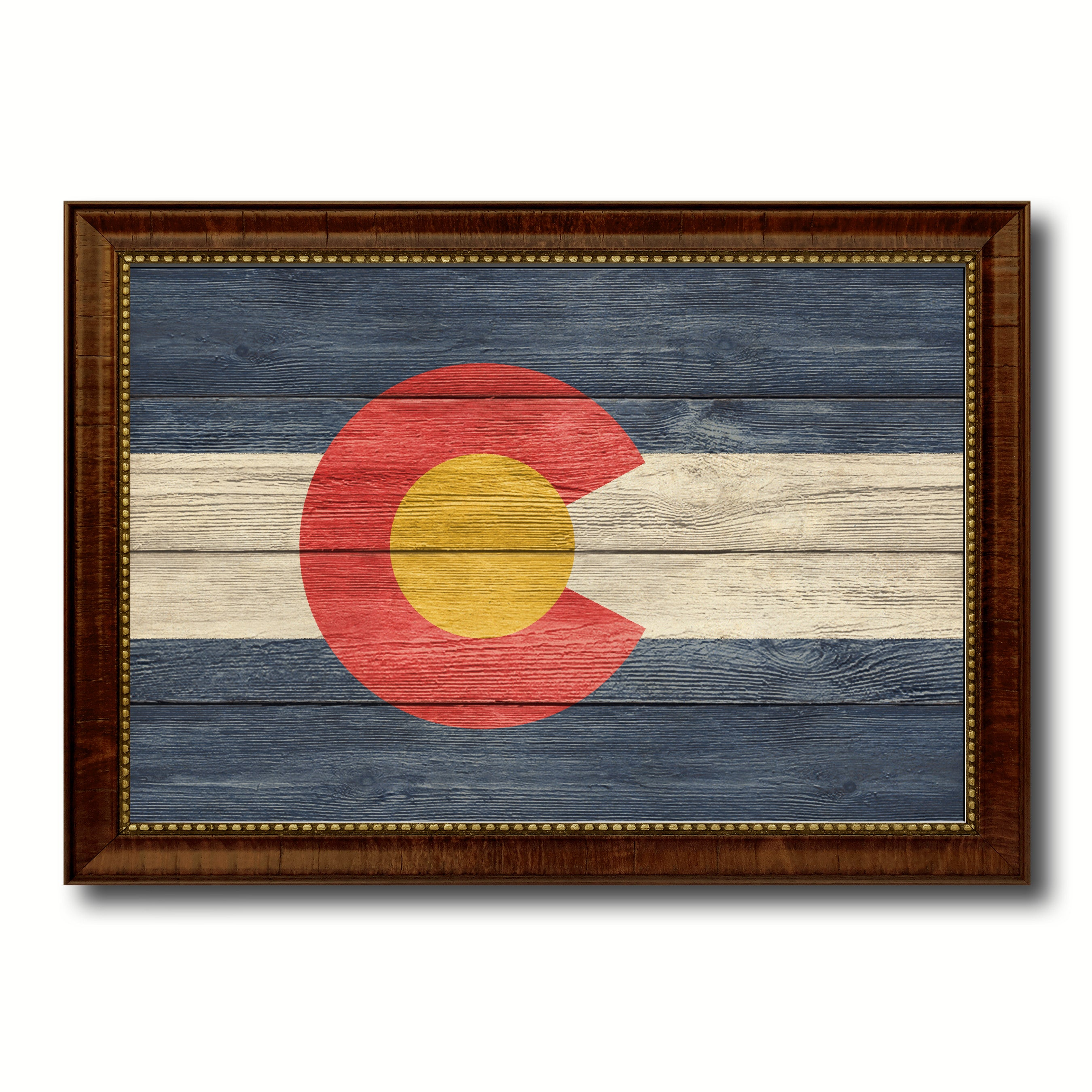 Colorado State Flag Texture Canvas Print with Brown Picture Frame Gifts Home Decor Wall Art Collectible Decoration