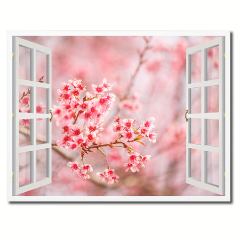 Cherry Blossom Beautiful Flower Picture French Window Framed Canvas Print Home Decor Wall Art Collection