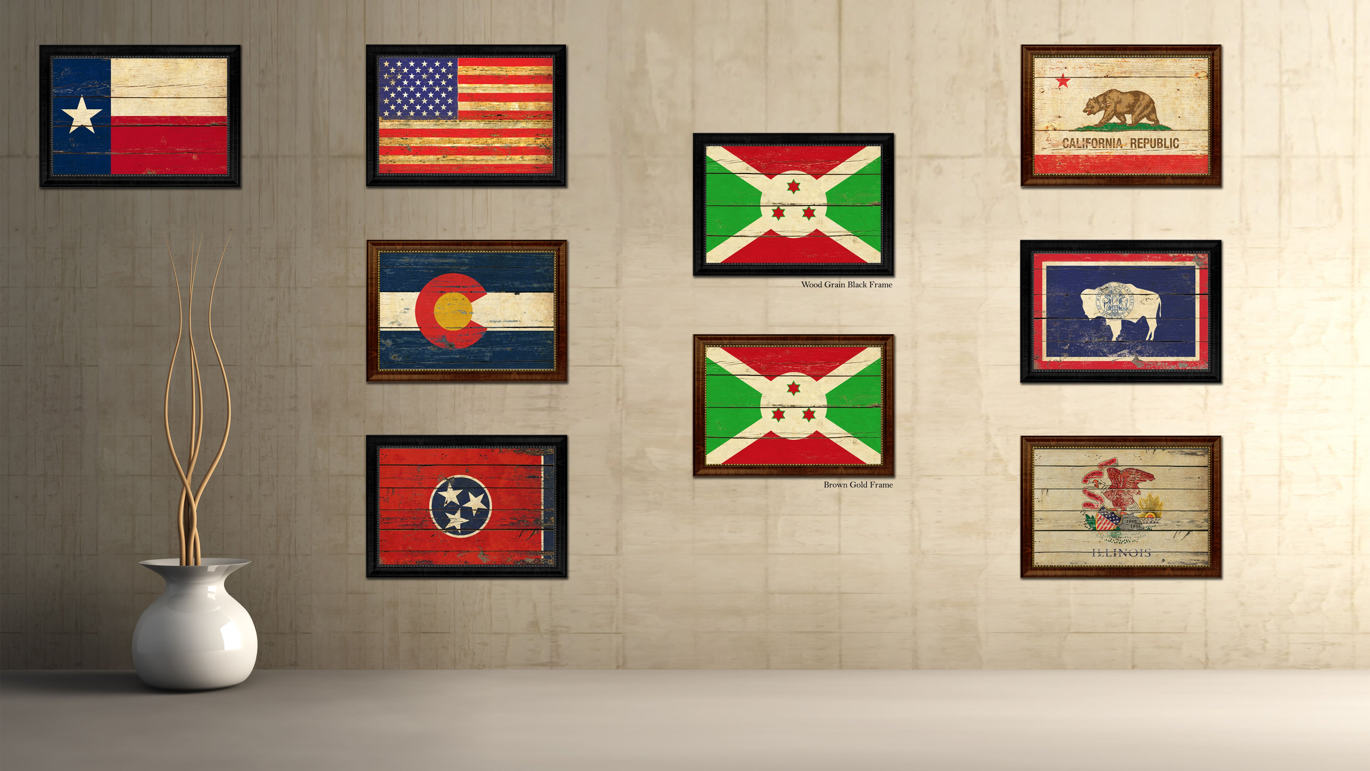 Burundi Country Flag Vintage Canvas Print with Black Picture Frame Home Decor Gifts Wall Art Decoration Artwork