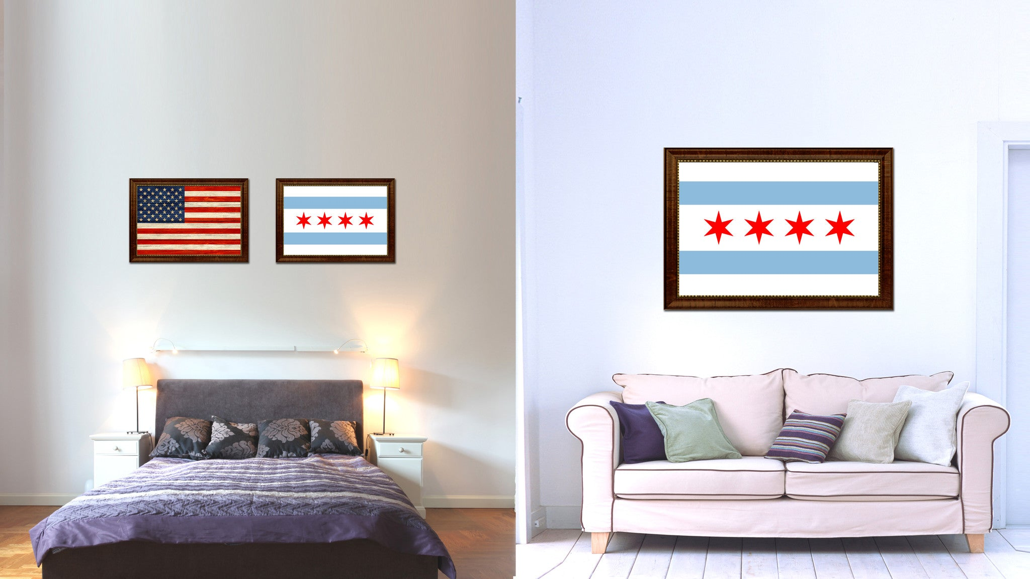 Chicago City Illinois State Flag Canvas Print Brown Picture Frame