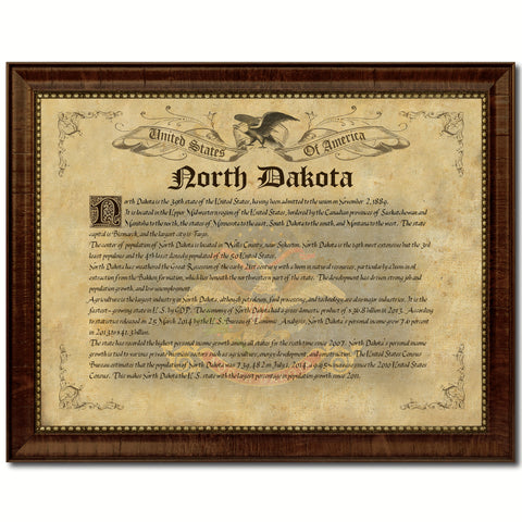 North Dakota Vintage History Flag Canvas Print, Picture Frame Gift Ideas Home Décor Wall Art Decoration