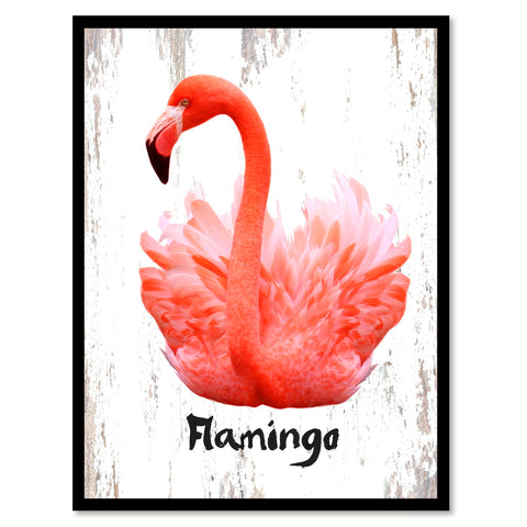 Flamingo Bird Canvas Print, Black Picture Frame Gift Ideas Home Decor Wall Art Decoration