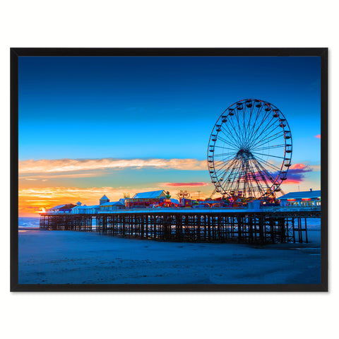 Central Pier and Ferris Wheel Landscape Photo Canvas Print Pictures Frames Home Décor Wall Art Gifts