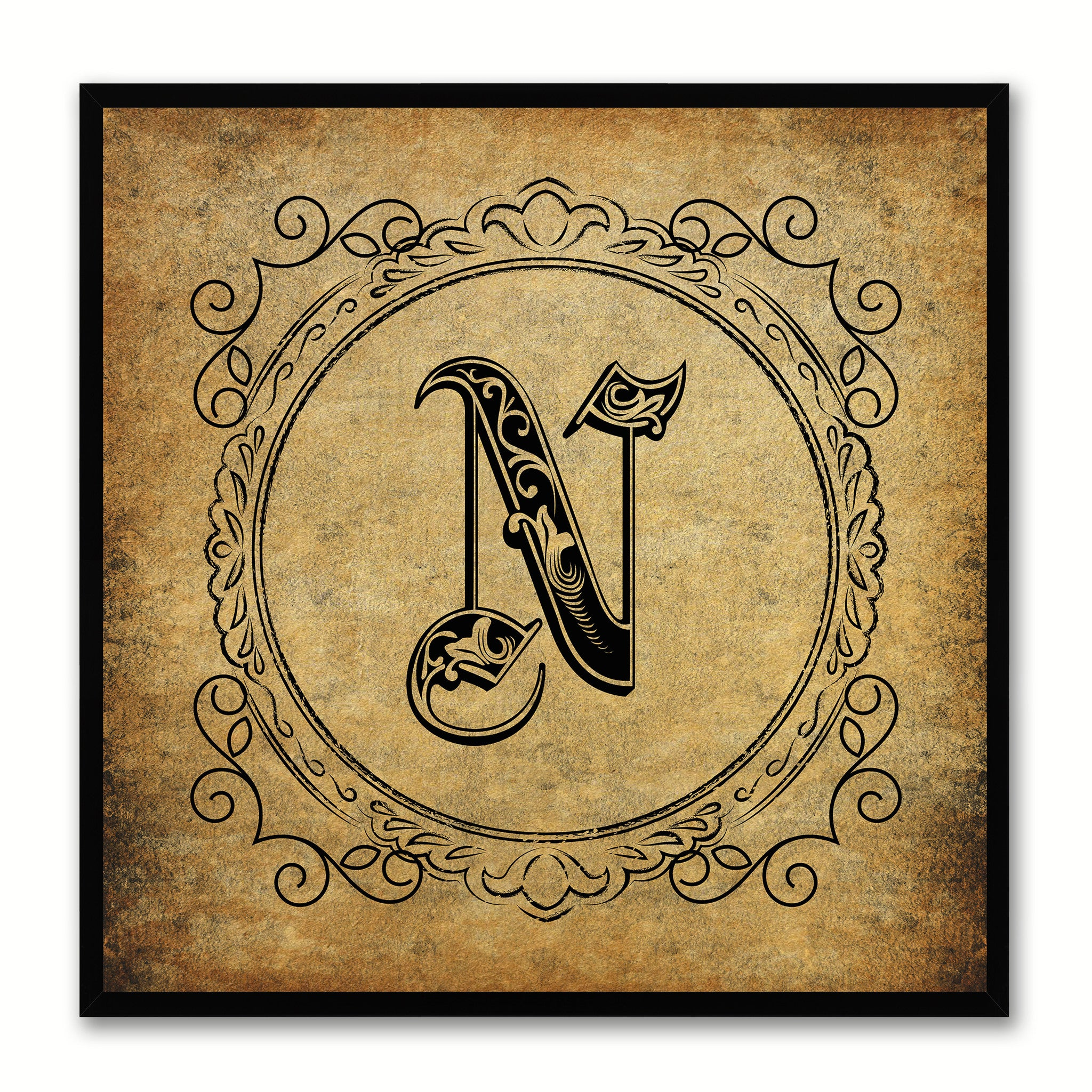 Alphabet N Brown Canvas Print Black Frame Kids Bedroom Wall Décor Home Art