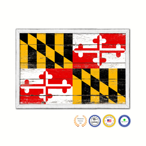 Maryland State Flag Shabby Chic Gifts Home Decor Wall Art Canvas Print, White Wash Wood Frame