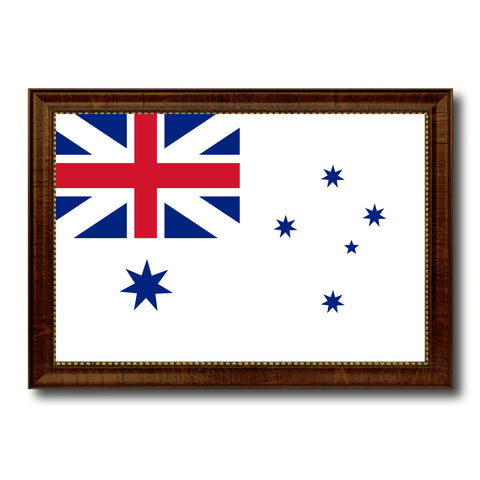 Australian White Ensign City Australia Country Flag Canvas Print Brown Picture Frame