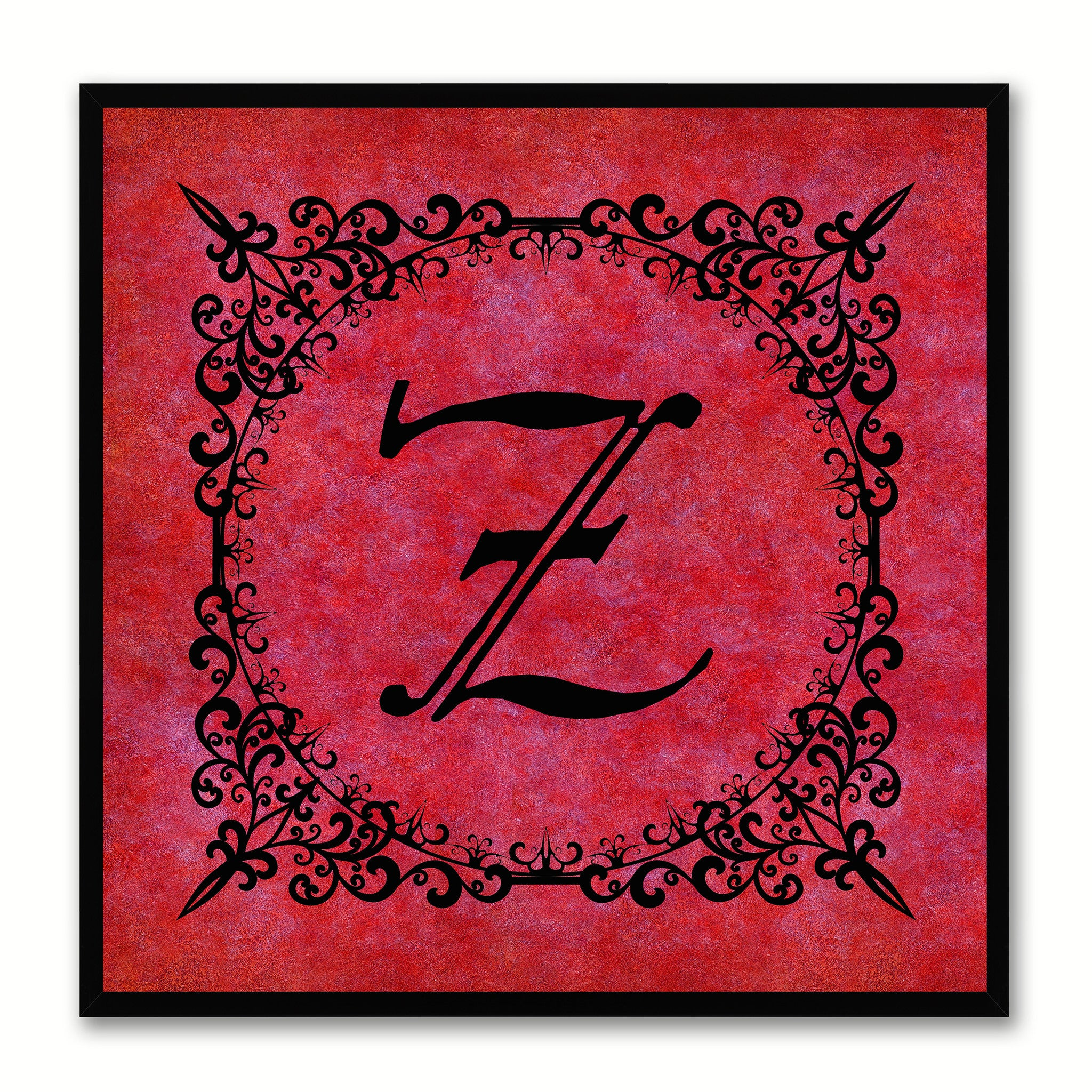 Alphabet Z Red Canvas Print Black Frame Kids Bedroom Wall Décor Home Art