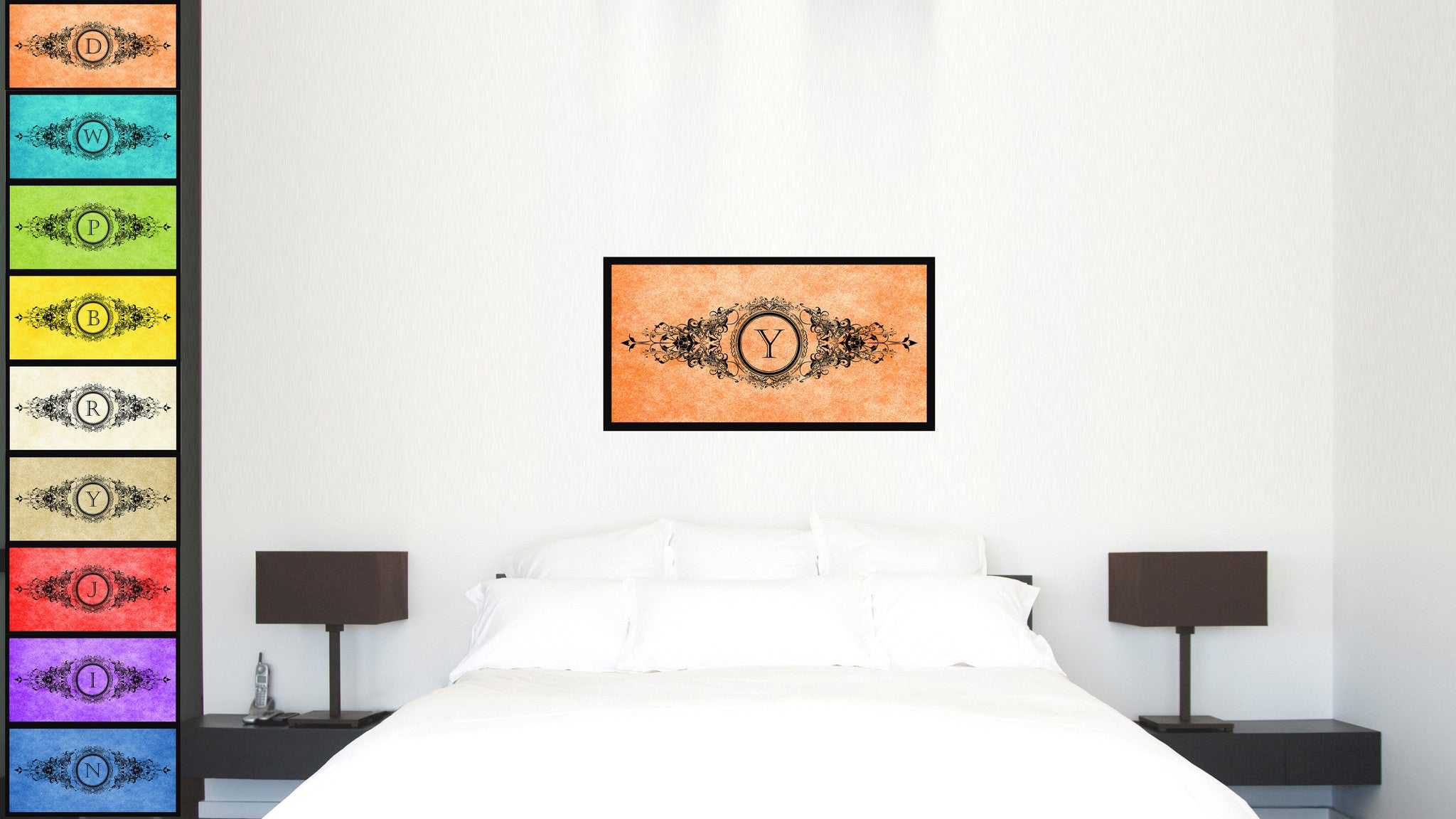 Alphabet Letter Y Orange Canvas Print, Black Custom Frame