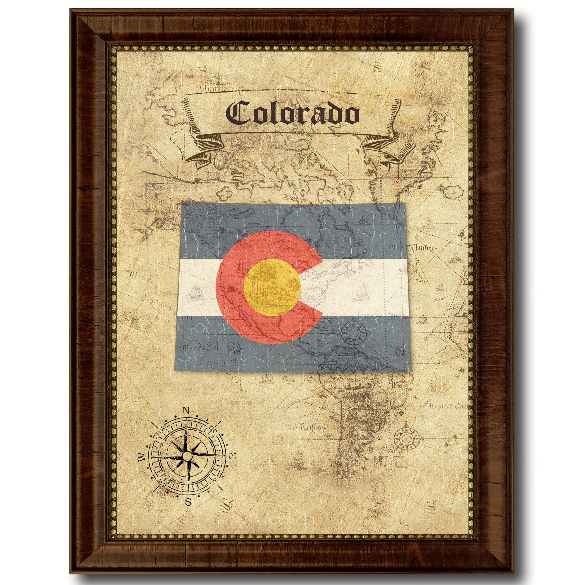 Colorado State Vintage Map Home Decor Wall Art Office Decoration Gift Ideas