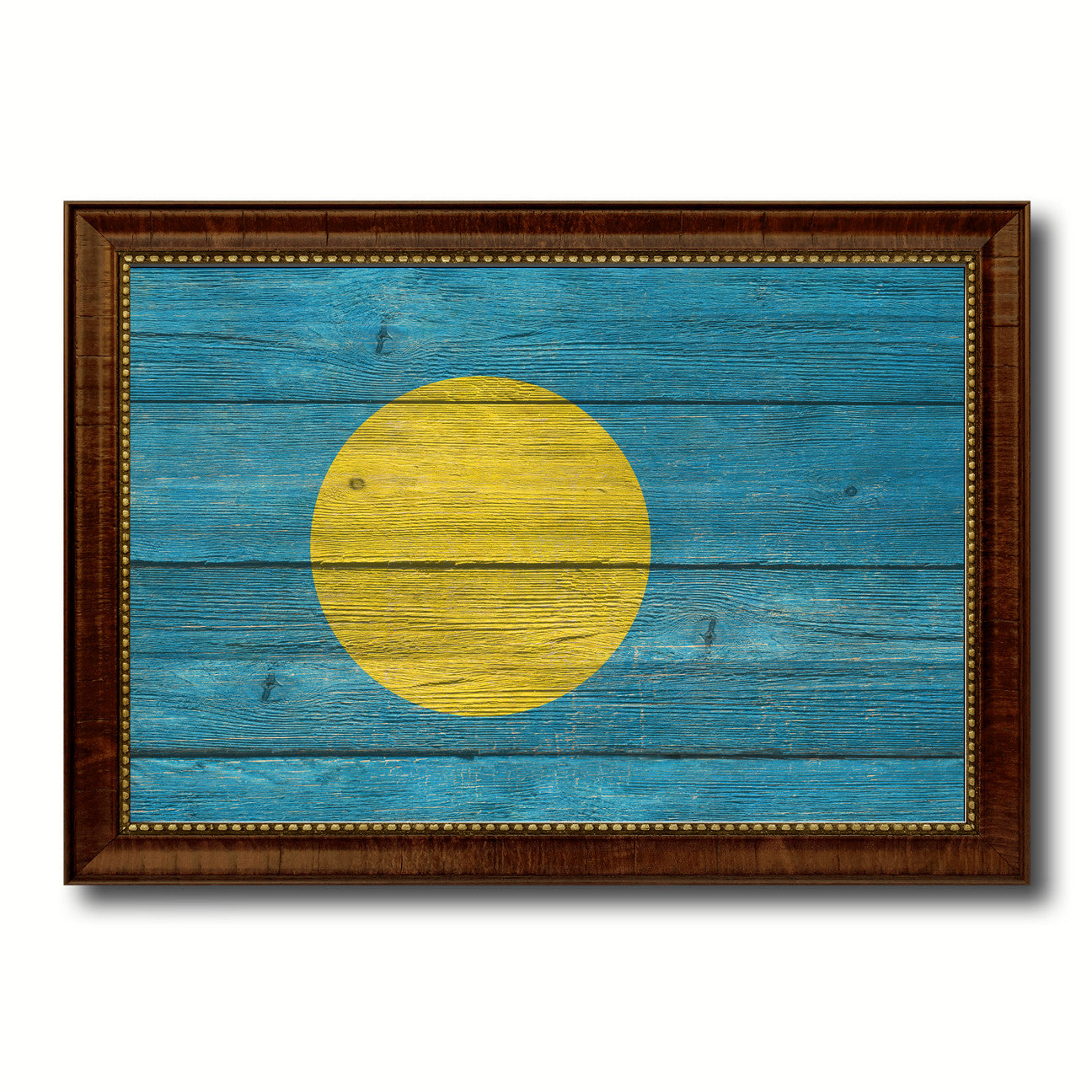Palau Country Flag Texture Canvas Print with Brown Custom Picture Frame Home Decor Gift Ideas Wall Art Decoration