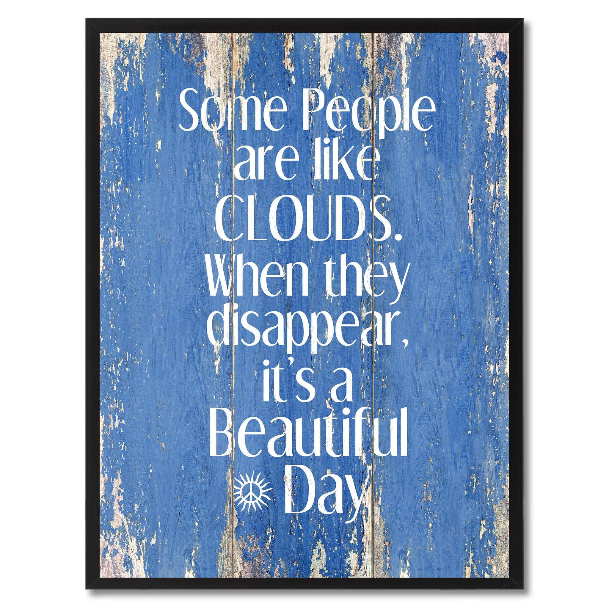 Some People Like Clouds When They Disappear Saying Canvas Print, Black Picture Frame Home Decor Wall Art Gifts