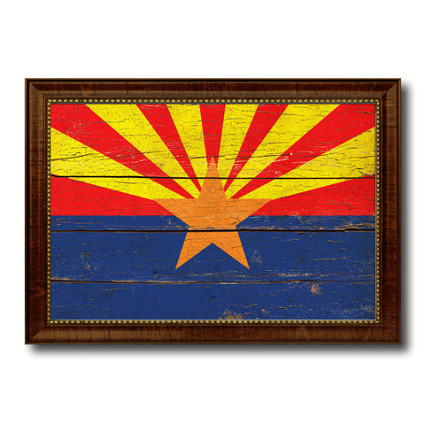 Arizona State Vintage Flag Canvas Print with Brown Picture Frame Home Decor Man Cave Wall Art Collectible Decoration Artwork Gifts
