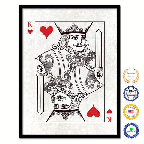 Jack Spades Poker Decks of Vintage Cards Print on Canvas Brown Custom Framed