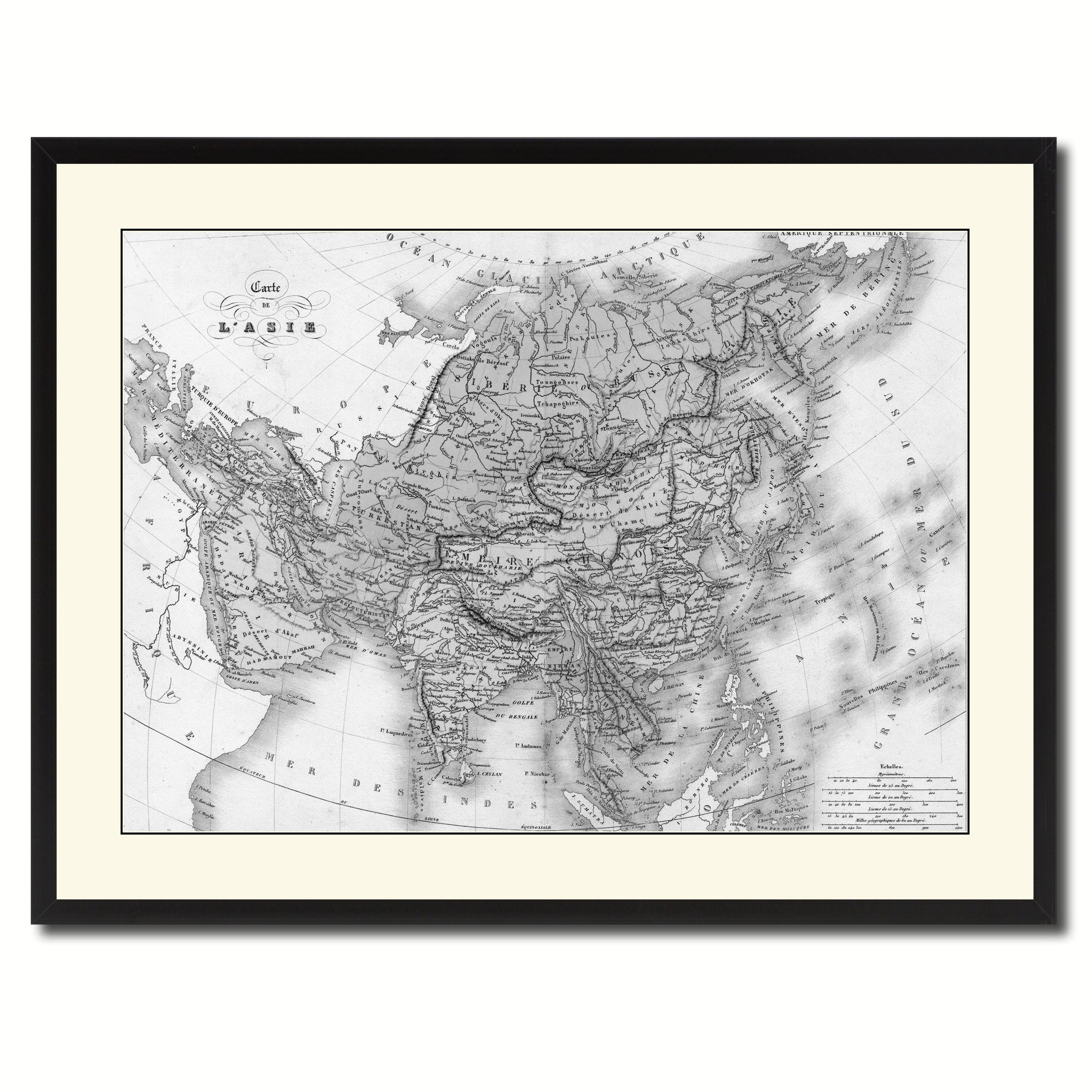 Asia Vintage B&W Map Canvas Print, Picture Frame Home Decor Wall Art Gift Ideas