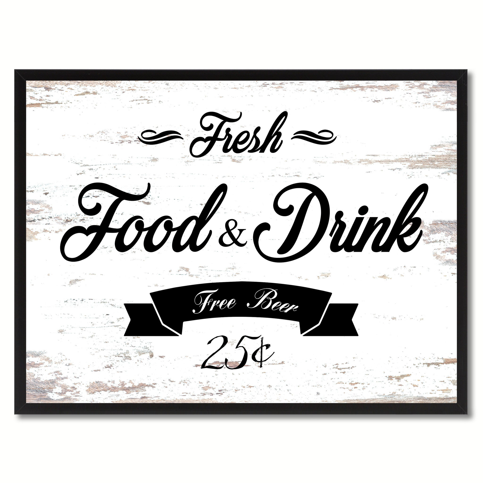 Fresh Food & Drink Vintage Sign White Canvas Print Home Decor Wall Art Gifts Picture Frames