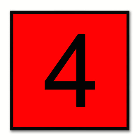 Number 4 Red Canvas Print Black Frame Kids Bedroom Wall Décor Home Art