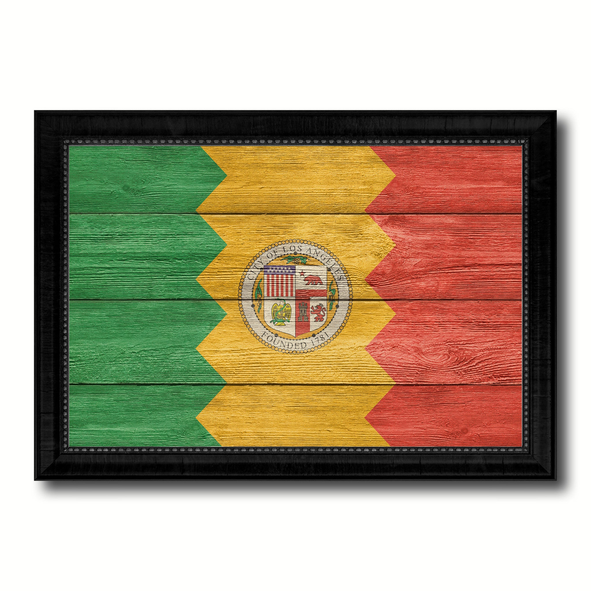 Los Angeles City California State Texture Flag Canvas Print Black Picture Frame