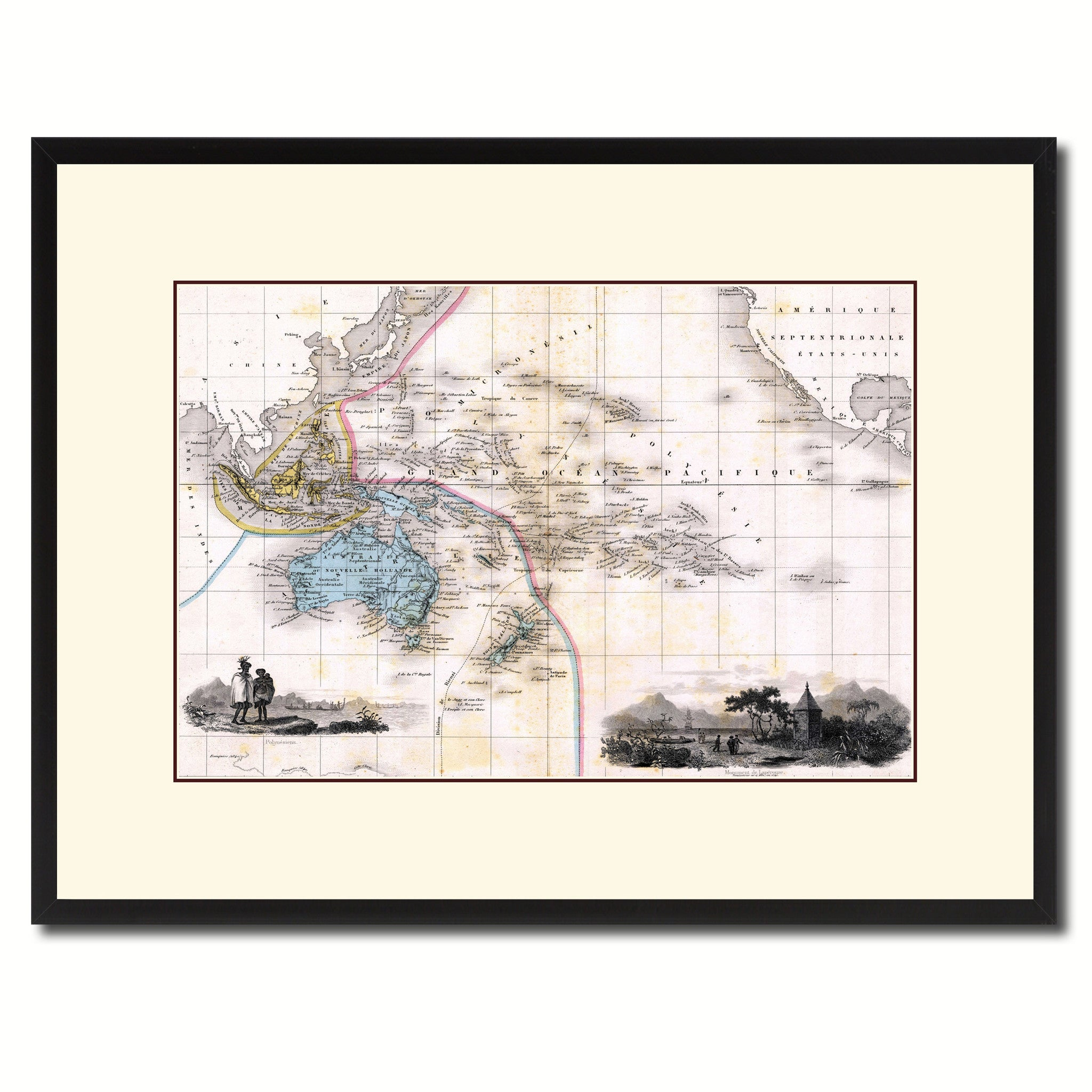 Oceania Australia New Zealand Vintage Antique Map Wall Art Home Decor Gift Ideas Canvas Print Custom Picture Frame