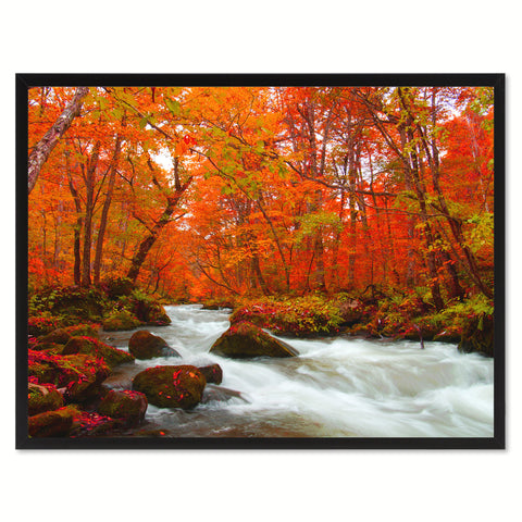 Autumn Stream Red Landscape Photo Canvas Print Pictures Frames Home Décor Wall Art Gifts