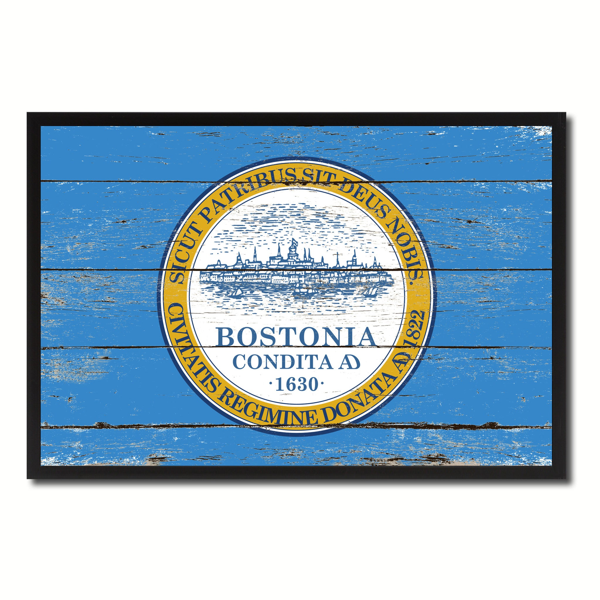 Boston City Massachusetts State Flag Vintage Canvas Print with Black Picture Frame Home Decor Wall Art Collectible Decoration Artwork Gifts