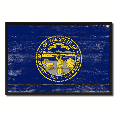 Nebraska State Flag Vintage Canvas Print with Black Picture Frame Home DecorWall Art Collectible Decoration Artwork Gifts
