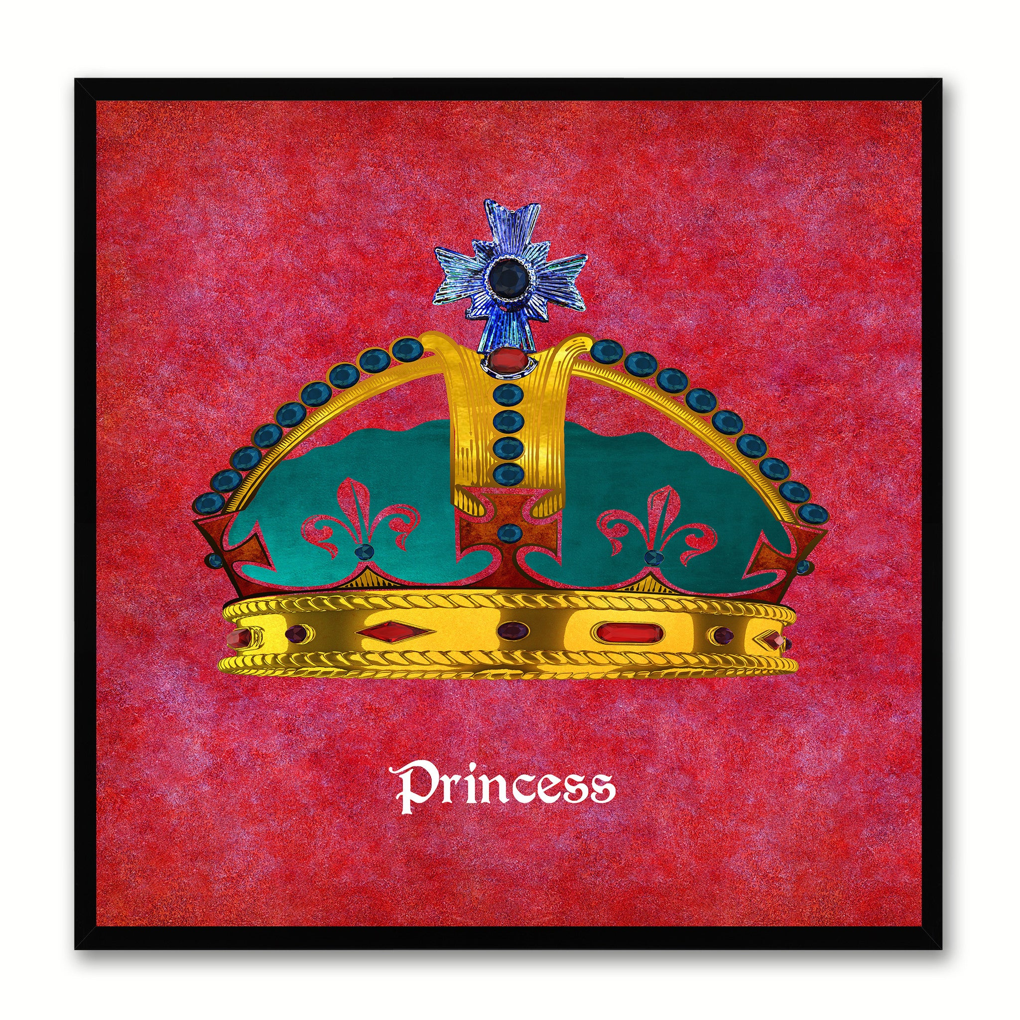 Princess Red Canvas Print Black Frame Kids Bedroom Wall Home Décor