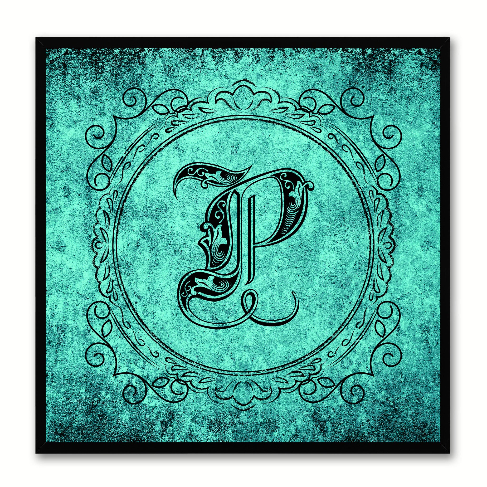 Alphabet P Aqua Canvas Print Black Frame Kids Bedroom Wall Décor Home Art