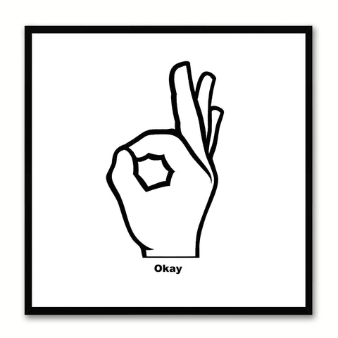Okay Hand Social Media Icon Canvas Print Picture Frame Wall Art Home Decor