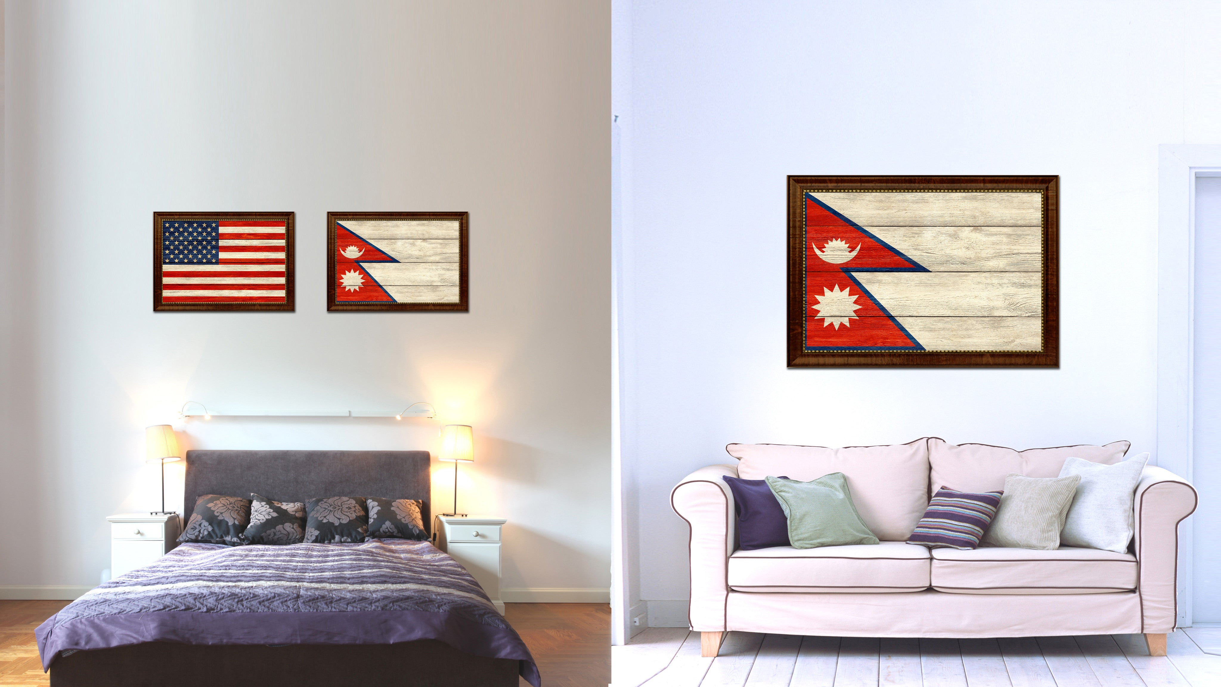Charming Nepal Country Flag Texture Canvas Print With Brown Custom Picture Frame Home  Decor Gift Ideas Wall