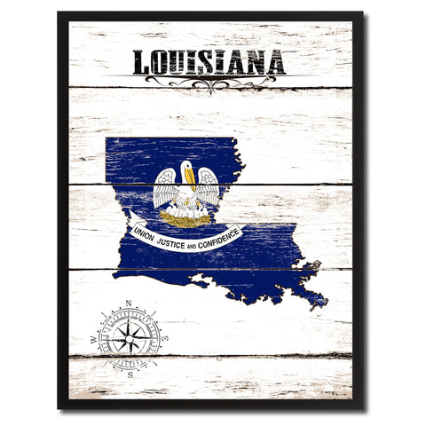 Louisiana State Flag Gifts Home Decor Wall Art Canvas Print Picture Frames