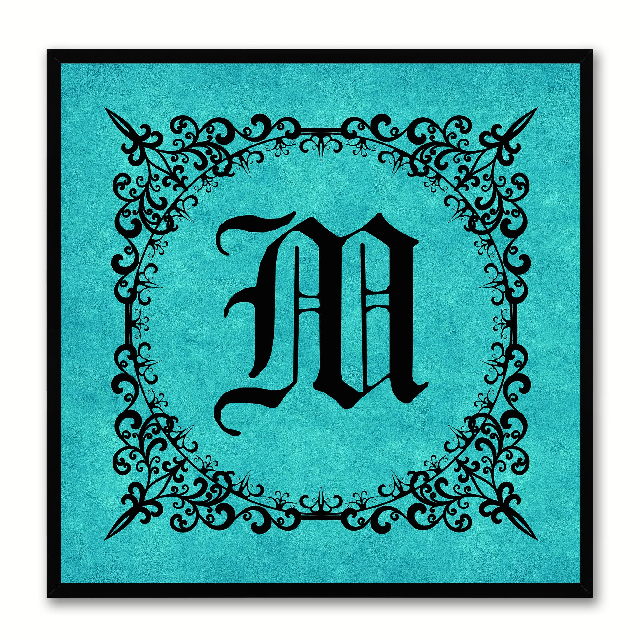 Alphabet M Aqua Canvas Print Black Frame Kids Bedroom Wall Décor Home Art