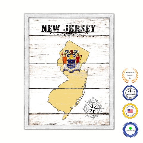New Jersey Flag Gifts Home Decor Wall Art Canvas Print with Custom Picture Frame