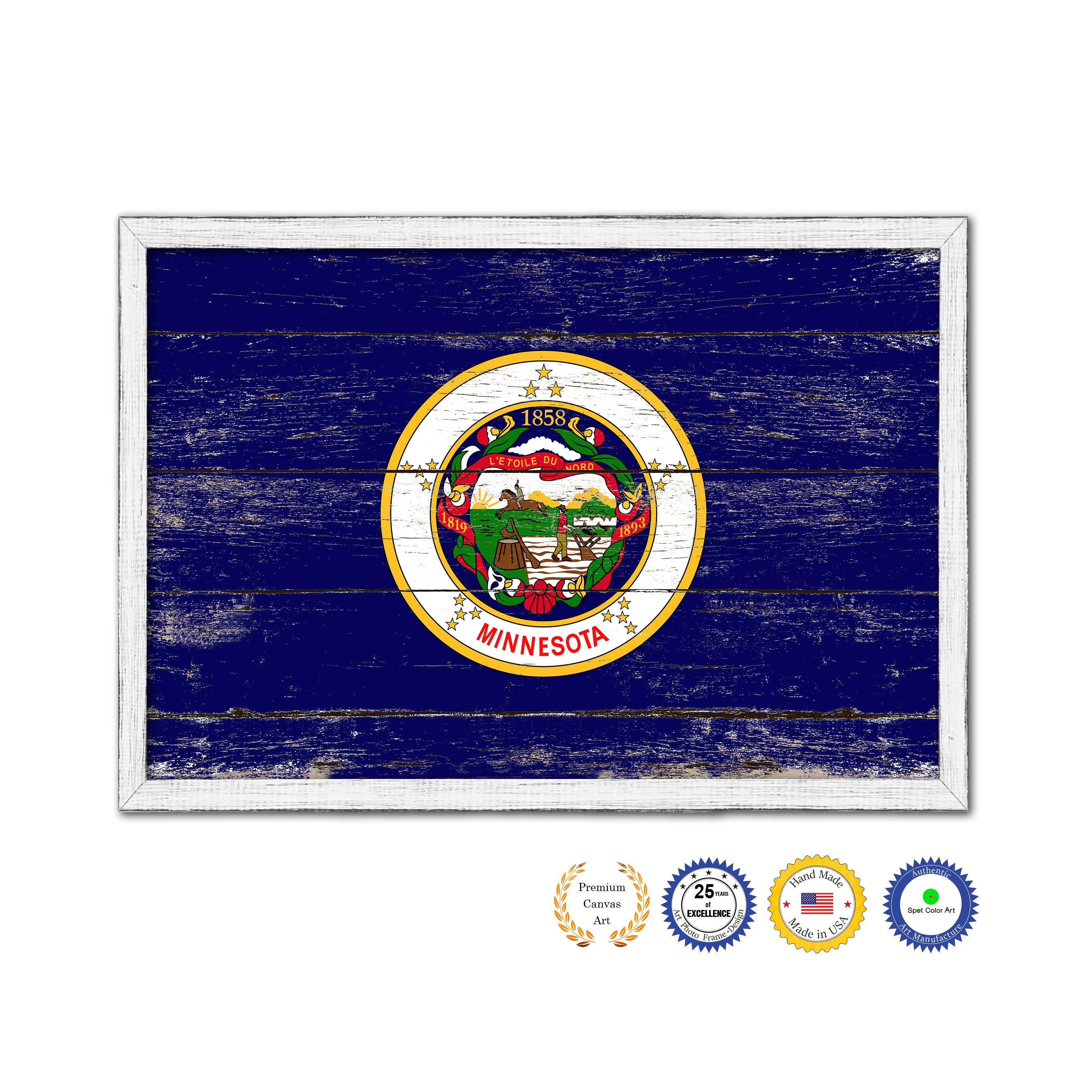 Minnesota State Flag Shabby Chic Gifts Home Decor Wall Art Canvas Print, White Wash Wood Frame