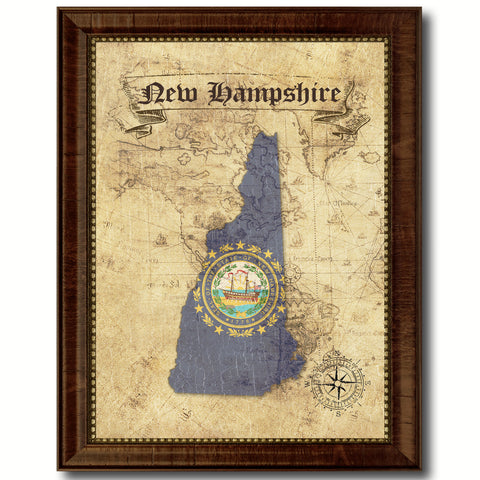 New Hampshire State Vintage Map Home Decor Wall Art Office Decoration Gift Ideas