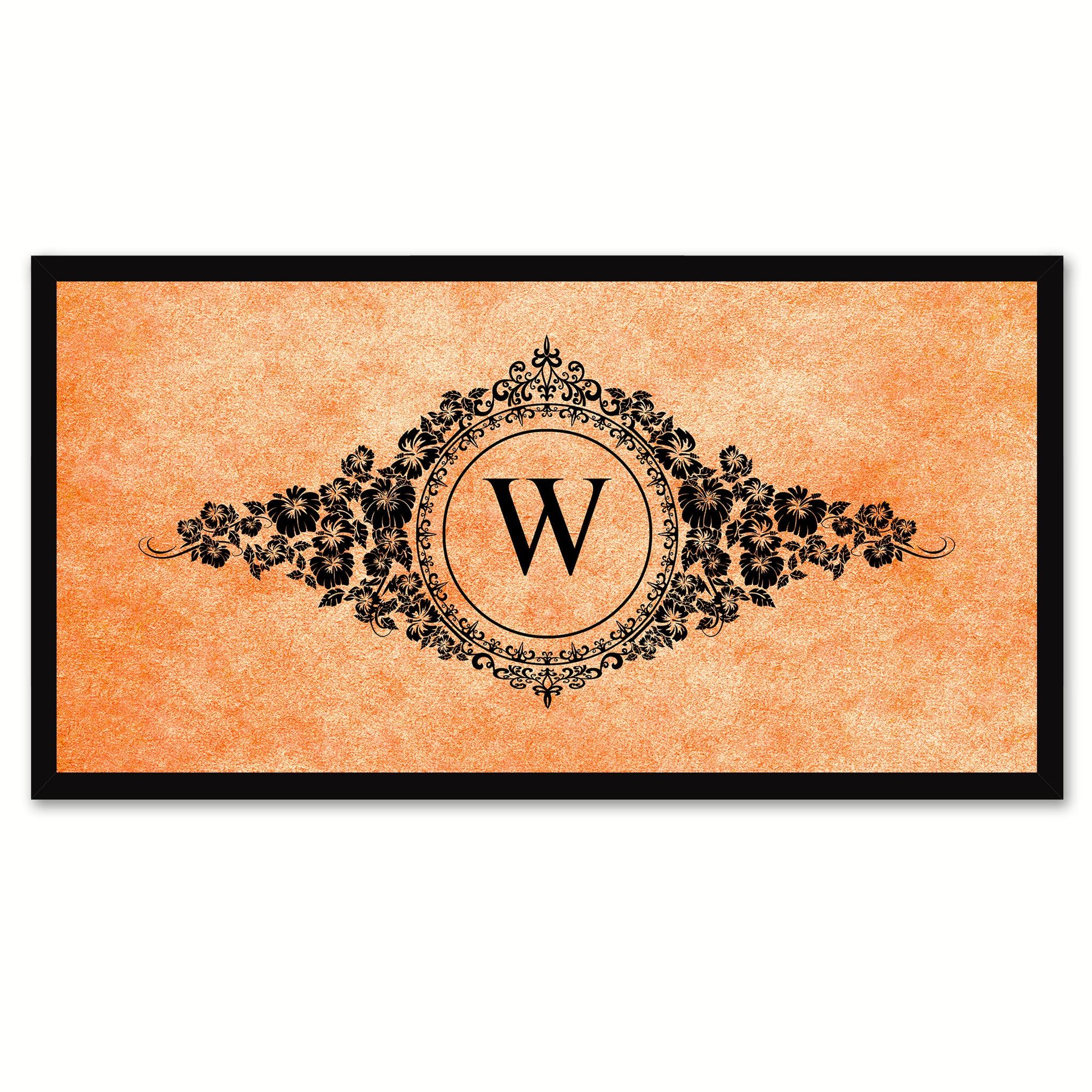 Alphabet Letter W Orange Canvas Print, Black Custom Frame