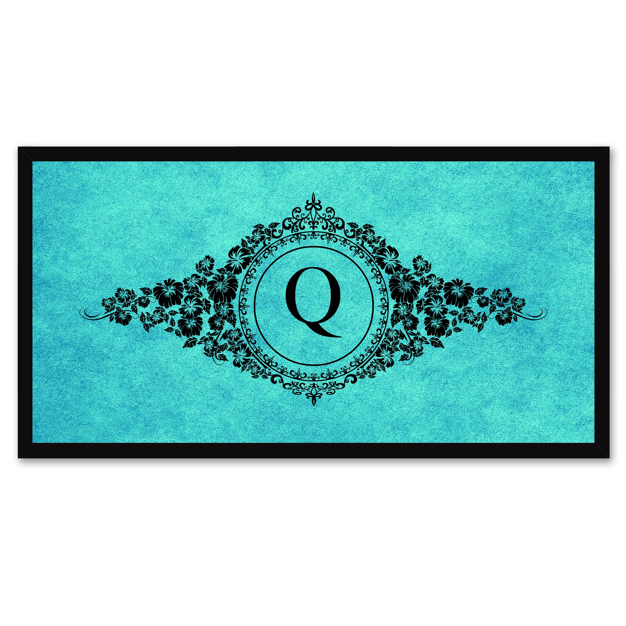 Alphabet Letter Q Auqa Canvas Print, Black Custom Frame